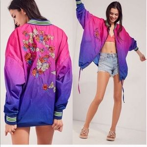 Urban Outfitters Ombré Embroidered Windbreaker